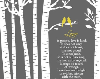 Birch Trees with love birds/1 Corinthians 13:4-7 Love is Patient Love is Kind/Gift for Husband/Gift for Wife/Wedding Gift/Shower Gift/ 8x10+