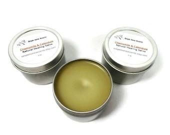 Chamomile and Calendula Salve, Herbal Salve, Natural Salve, Skin Balm, Gift under 10