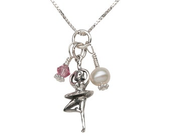 Sterling Silver Ballerina Dancer Charm Necklace with Freshwater Pearl and Swarovski Crystal with Gift Box  (BCN-Ballerina Cluster)