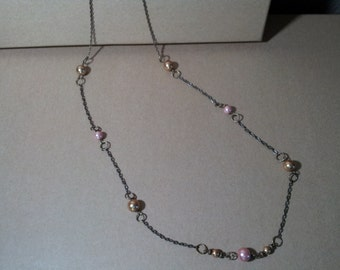 Antique Brass and Glass Pearl Long Chain Necklace