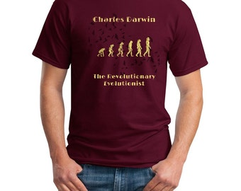 Charles Darwin Slogan Tshirt Evolution Natrual Selection Scientist  DTG Printed