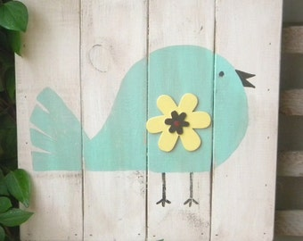 Sweet Whimsical Bird Plank Art