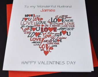 Handmade Personalised. Customised. Valentine Card Husband Wife Boyfriend Girlfriend Partner Fiancé
