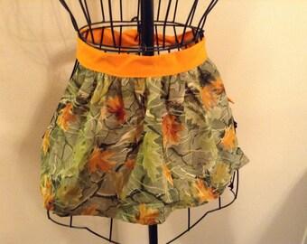 Girl's camouflage, half apron with orange ties!