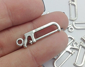 10 Saw Tool Charms, Silver Carpentry Charms (1-1005)