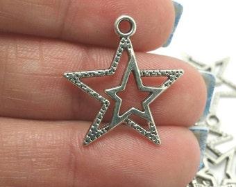 BULK 50 Star Charms, Silver Star Charms, Celestial Charms, Bulk Charms (5-1062)
