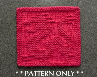 Chinese Dragon Knitting PATTERN - Instant Download - Knit Dish Cloth Pattern, Knit Wash Cloth Pattern / Knit Dragon, easy knit pattern