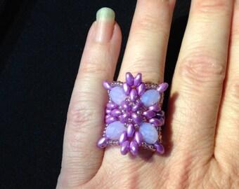 Lavender swarovski ring.