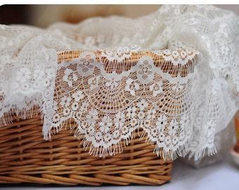 "Lace Fabric White Eyelash Soft Wedding Fabric DIY Handmade 59"" width 1 yard"