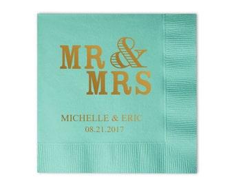 100 Personalized Mr & Mrs Mr and Mrs Wedding Napkins Custom Monogram
