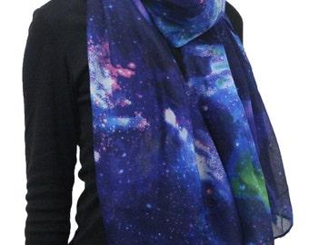 Beautiful Nebula Galaxy little Twinkle Stars Print Large Scarf  Dark Blue