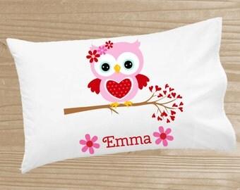 Personalized Kids' Pillowcase - Owl Pillowcase for Girls - Sweetheart Owl Pillow Case - Custom Owl Pillow Slip