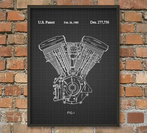 Harley Davidson Motorcycle Engine Patent Wall Art By