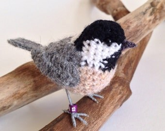 Coal tit realistic British bird crochet sculpture