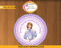 INSTANT DOWNLOAD - Sofia the First Treat Bag Label Sticker - Princess Sofia Printable Birthday Party Thank You Favor Tag -CraftyCreationsUAE