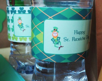 St. PATRICK'S Day - Irish - Leprechaun - Shamrock - Beer/Water/Juice - BOTTLE Labels - Non.Personalised - Instant Download