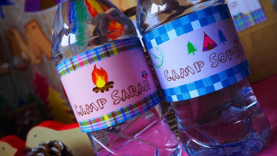 GLAMPING - Camping PERSONALISED - Girls - Birthday - Pink - Multi.Coloured - Checked - Bottle Label - PRINTABLE - Pdf - Digital Files