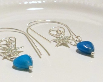 Blue Agate Earrings, Blue earrings, Silver earrings, Dangle earrings, Gemstone earrings, Valentines gift, Heart earrings, Star earrings