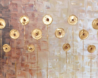 """Contemporary abstract gold flowers acrylic palette knife painting on box canvas 48"""" x 24""""   ~  120x60cm   MADE TO ORDER"""