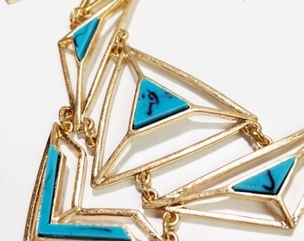 Only 4 left. Geometric turquoise bib necklace with gold chains