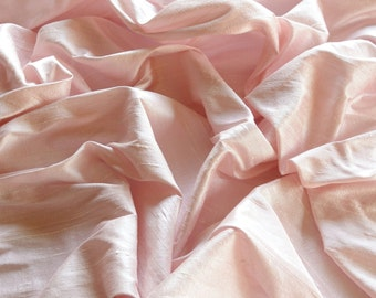 "Iridescent Baby Pink Dupioni Silk, 100% Silk Fabric, 44"" Wide or 54"" Wide, By The Yard (S-212)"