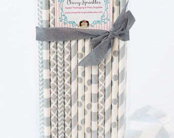 Metallic Silver, SILVER Paper Straws for Parties, Weddings, Birthday or Shower Silver multipack *Over the Hill *New Years Eve Party *Damask