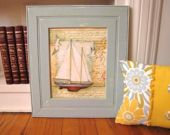 """Distressed Light Blue wood picture frame, Artwork Frame, 2.75"""" border, 8x10 Distressed Basin Blue over White (pictured), Select Size & Color"""