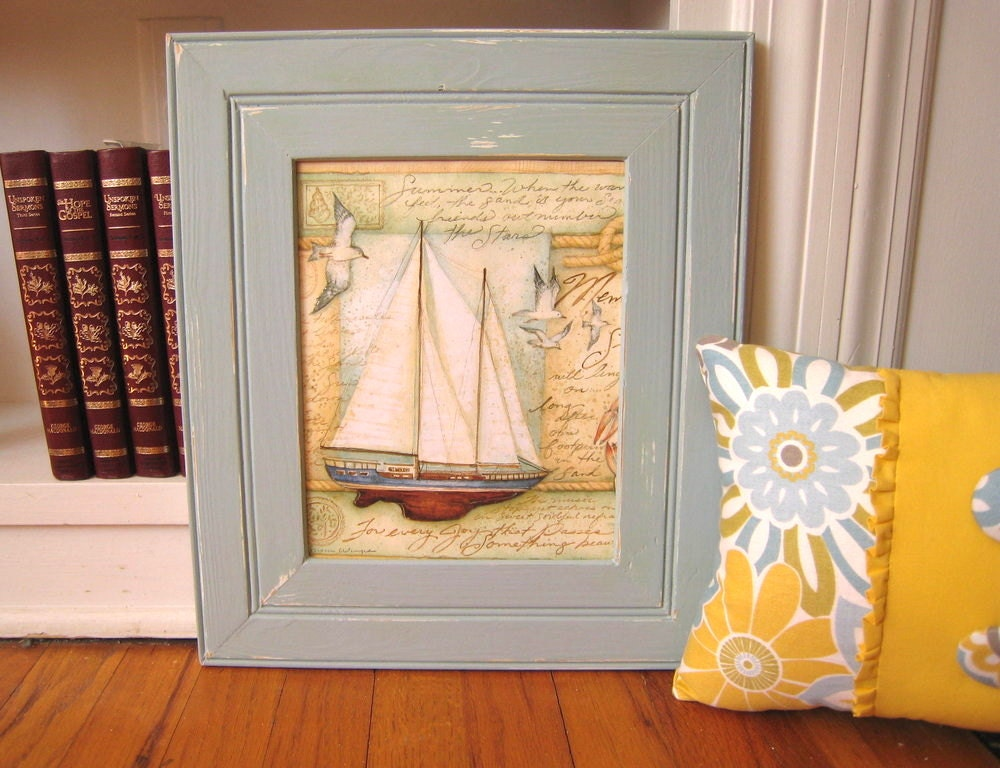 Distressed Light Blue wood picture frame by HopeSpringsDecor