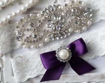 SALE - Plum Wedding Garter, Bridal Garter Set - Ivory Lace Garter, Keepsake Garter, Toss Garter, Plum & Ivory Wedding - Style 770