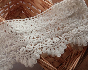 Cotton Lace Fabric Trim- Vintage Lace Trim  Hollow Out Embroidered Lace 2 yards, Eyelet Lace Trim