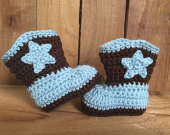 Crocheted cowboy boots, baby boots, baby gift, photo prop, baby accessory, booties