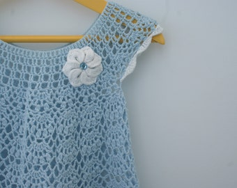 Baby girl dress, baby outfits, crochet dress baby girl, crochet infant dress, blue baby dress, infant girl dress
