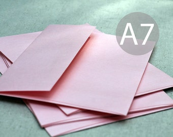 "A7 Metallic Blush Envelopes - (25) 5x7 Metallic Blush Pink Envelopes - Pink Wedding Envelopes (true size 5 1/4"" x 7 1/4"")"
