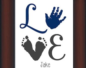 Baby Boy LOVE Footprint & Handprint - Personalized Baby/Child's Room, boys room, Valentine gift, newborn decor