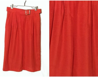 Vintage Red Skirt Pencil Skirt High Waist Wide Belt Elastic Waistband Stretch USA Women's size 12 or LARGE
