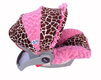 Infant Car Seat Cover- Pink Giraffe