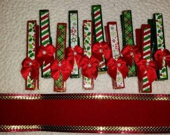 Ribbon and Clothespin Christmas Card Display