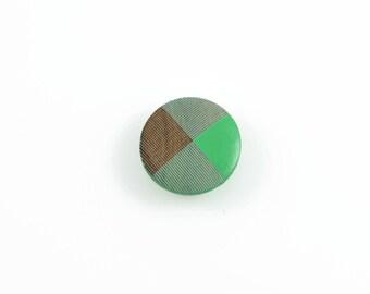 GREEN WOOD BUTTONS (Set of 5) - Green Textured Geometric Wood Buttons (2cm)