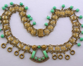 Art Deco 1930's Necklace With Peking Glass Beads