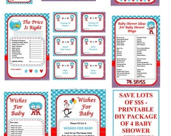 Dr Seuss Baby Game, Printable Seuss Games, Dr Seuss Baby Shower Game, Cat In The Hat Baby Game, Dr Seuss Shower - By Printables 4 Less