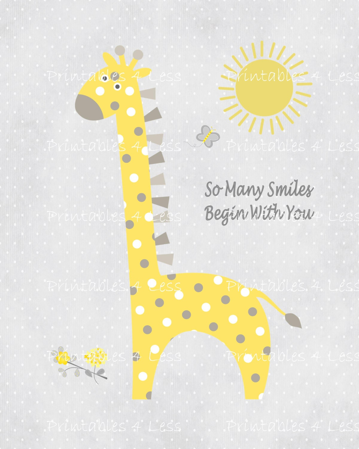 Elephant nursery wall art print mom baby dad by rizzleandrugee - Yellow Gray Giraffe Wall Art Printable Giraffe Art Diy Nursery Printable Diy Printable