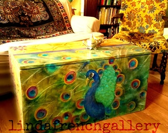 Ready to Ship Large Peacock Trunk FURNITURE ART Hand Painted Funky Whimsical Furniture Coffee Table Storage Hope Chest Peacock Painting