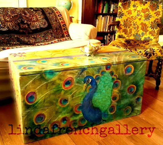 Ready to ship large peacock trunk furniture art hand painted for Peacock coffee table