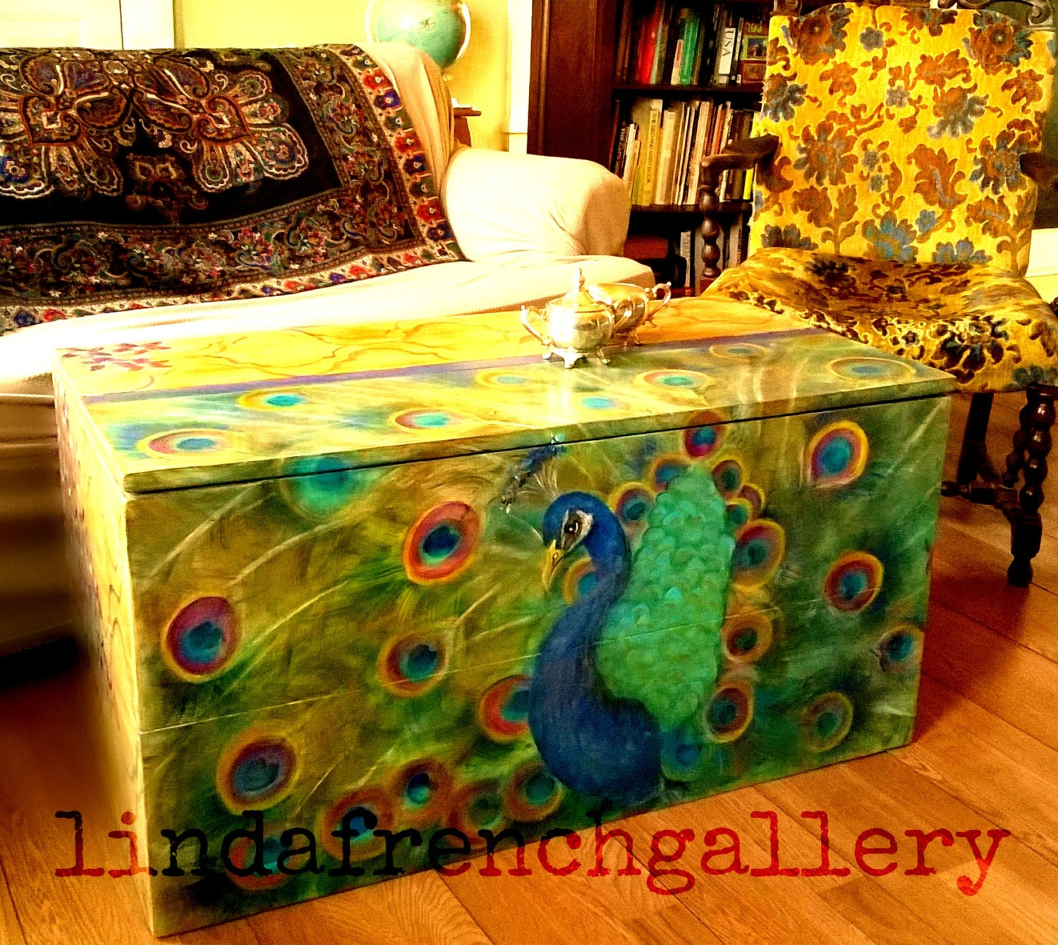Ready to Ship Peacock Trunk FURNITURE ART Hand Painted