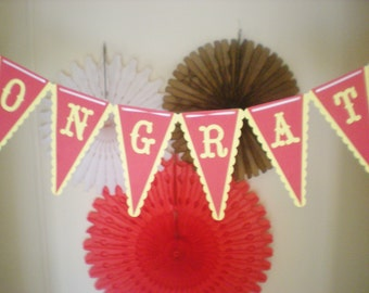 Pendant banner, custom message, red yellow, CUSTOM COLORS available for weddings, parties, birthday, and more!