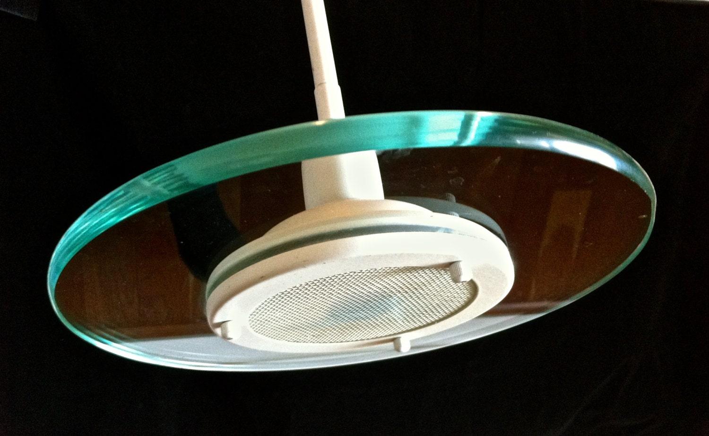 Vintage Small White Glass Flying Saucer Swivel Pendant Light