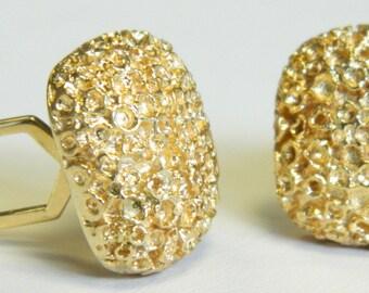 14K Yellow Gold Nugget Cufflinks