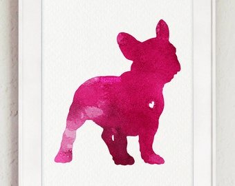 French Bulldog silhouette, Pink watercolor painting, Dog art print, Raspberry