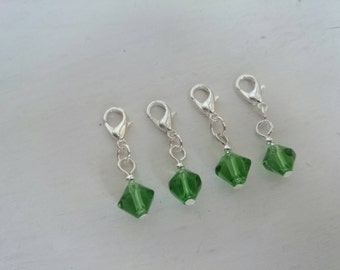 Glass bead stitch markers - Bright Green