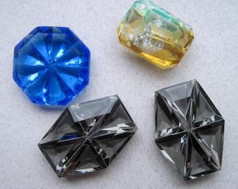 4 Vintage Cut Glass Cabochons